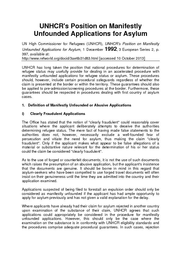 Unfounded Applications for Asylum UN High Commissioner for Refugees (U