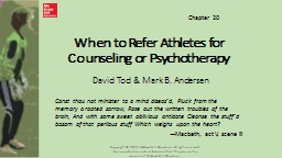 When to Refer Athletes for Counseling or Psychotherapy