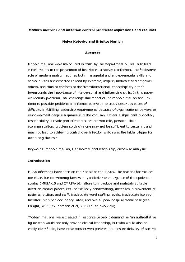 Modern matrons and infection control practices: aspirations and realit