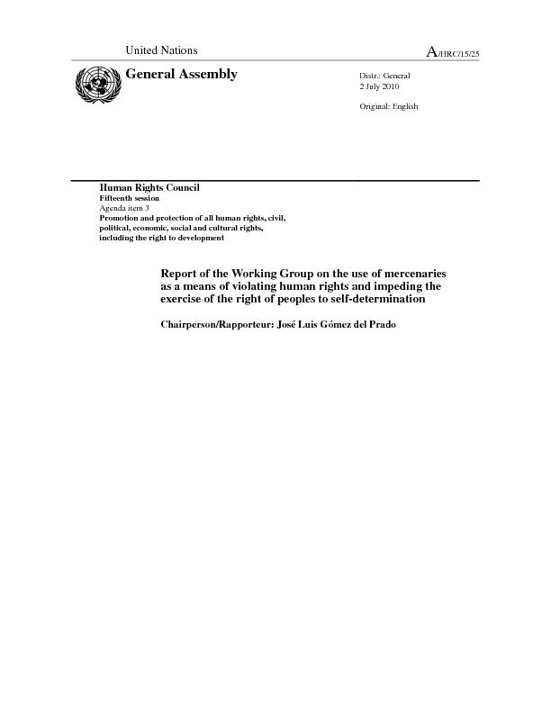 Human Rights Council Fifteenth session Agenda item 3 Promotion and pro