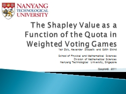 The Shapley Value as a Function of the Quota in Weighted Vo PowerPoint PPT Presentation