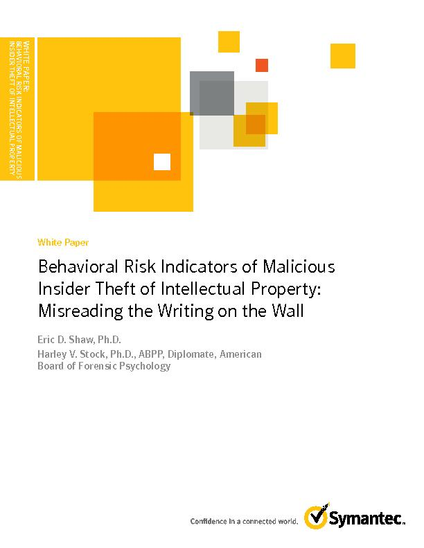 WHITE PAPER:BEHAVIORAL RISK INDICATORS OF MALICIOUS INSIDER THEFT OF I