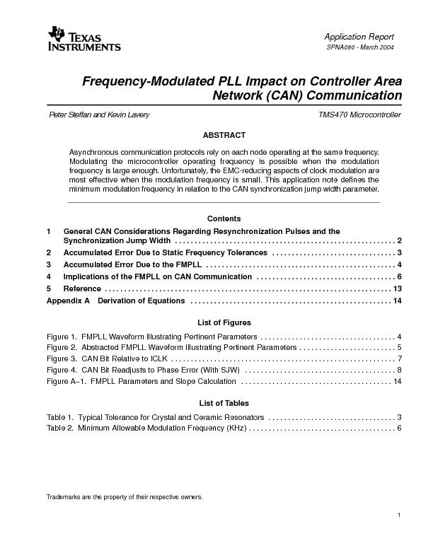 Frequency-Modulated PLL Impact on Controller AreaPeter Steffan and Kev