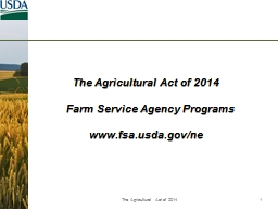 The Agricultural Act of 2014