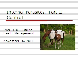 Internal Parasites, Part II - Control