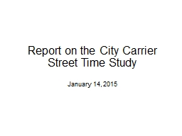 Report on the City Carrier Street Time Study