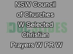 NSW Council of Churches W Selected Christian Prayers W PR W