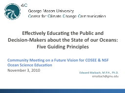 Community Meeting on a Future Vision for COSEE & NSF Oc