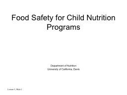 Food Safety for Child Nutrition Programs