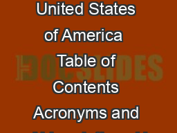First Biennial Report of the United States of America  Table of Contents Acronyms and Abbreviations U
