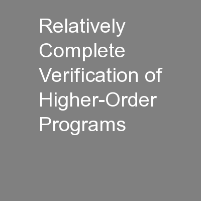 Relatively Complete Verification of Higher-Order Programs