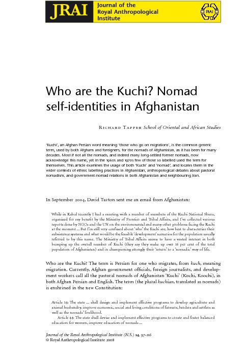 .NationalmultisectoralassessmentonKuchi.Kabul:MinistryofRuralRehabilit