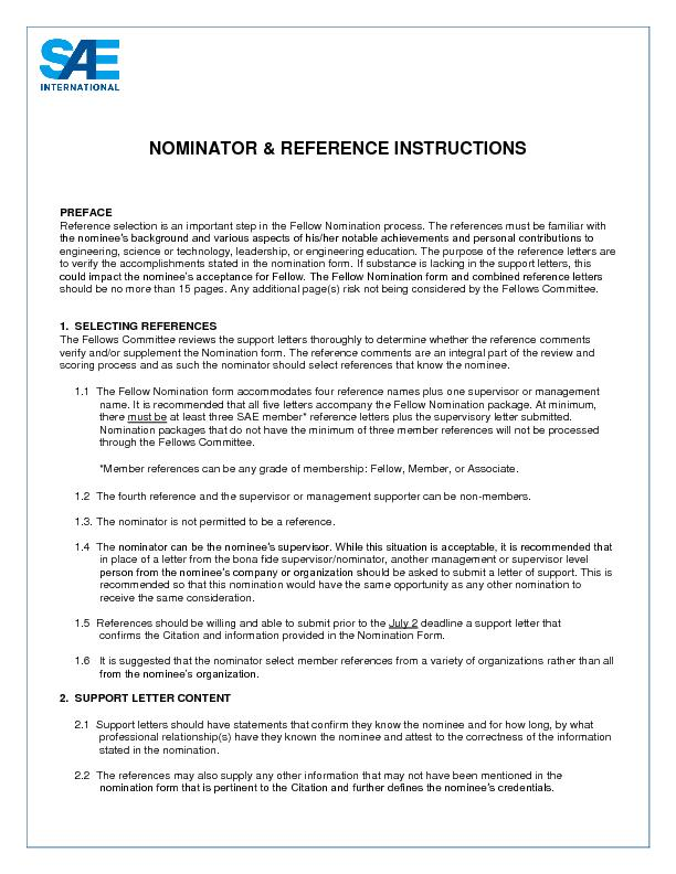 NOMINATOR & REFERENCE INSTRUCTIONS