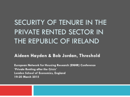 Security of tenure in the private rented sector in