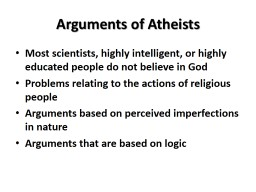 Arguments of Atheists