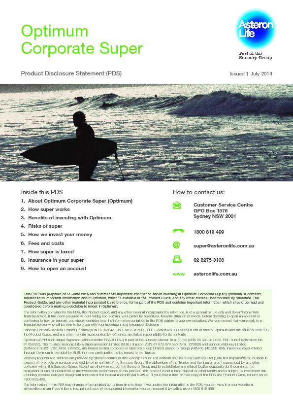 This PDS was prepared on 25 June 2014 and summarises important informa