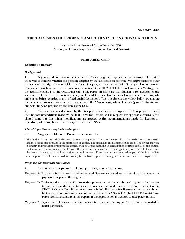 SNA/M2.04/06 THE TREATMENT OF ORIGINALS AND COPIES IN THE NATIONAL ACC