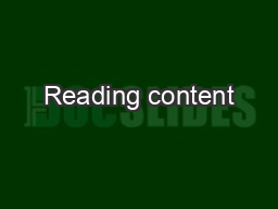 Reading content PowerPoint PPT Presentation