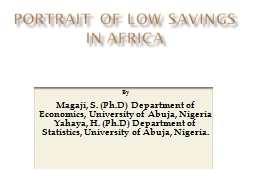 PORTRAIT OF LOW SAVINGS IN PowerPoint PPT Presentation