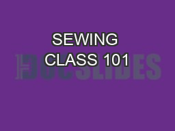 SEWING CLASS 101