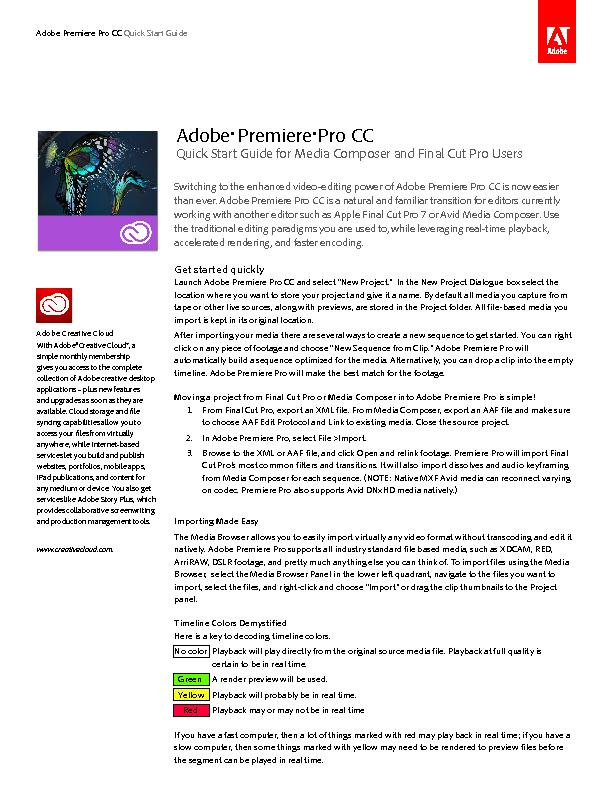 Switching to the enhanced video-editing power of Adobe Premiere Pro CC
