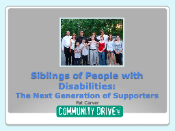 Siblings of People with Disabilities:
