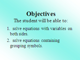 1.  solve equations with variables on both sides.