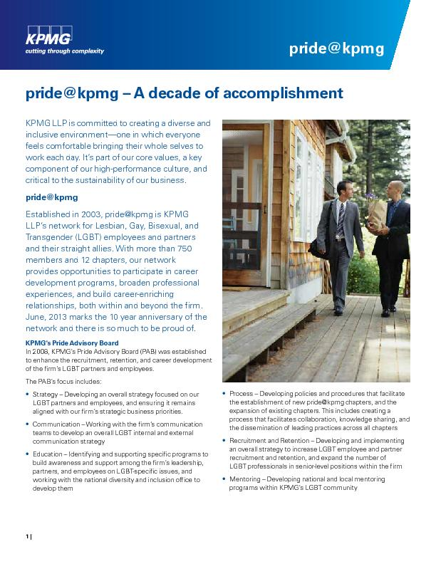 KPMG LLP is committed to creating a diverse and