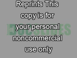 Reprints This copy is for your personal noncommercial use only