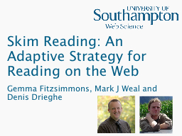 Skim Reading: An Adaptive Strategy for Reading on the Web PowerPoint PPT Presentation