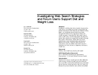 Investigating Web Search Strategies and Forum Use to Support Diet and Weight Los