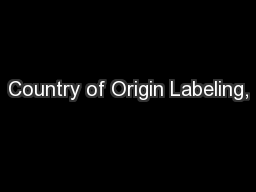 Country of Origin Labeling,