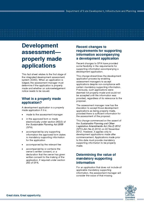This fact sheet relates to the first stage of the integrated developme