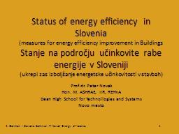 Status of energy efficiency  in Slovenia