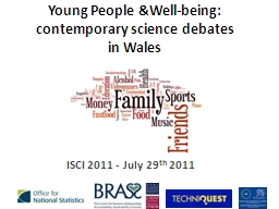 Young People &Well-being: contemporary science debates