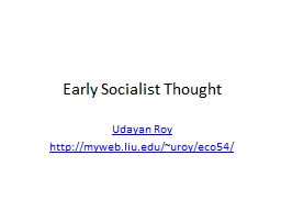Early Socialist Thought PowerPoint PPT Presentation