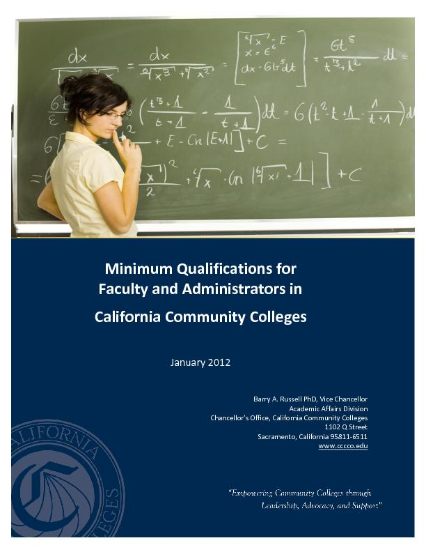 Minimum Qualifications for Faculty and PowerPoint PPT Presentation