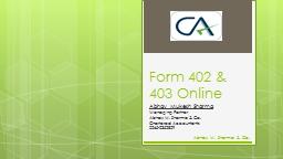 Form 402 & 403 Online