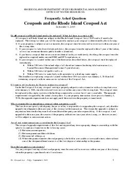 Cesspool Act  FAQs July   RHODE ISLAND DEPARTMENT OF ENVIRONMENTAL MANAGEMENT OFFICE OF WATER RESOURCES Frequently Asked Questions Cesspools and the Rhode Island Cesspool Act of  July   Do all cesspo