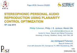 STEREOPHONIC PERSONAL AUDIO REPRODUCTION USING PLANARITY CO