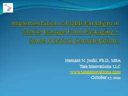 Implementation of QbD Paradigm in Sterile Dosage Form Packa