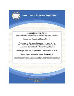 Lausanne Occasional Paper No. 46 2004 Forum for World Evangelization h