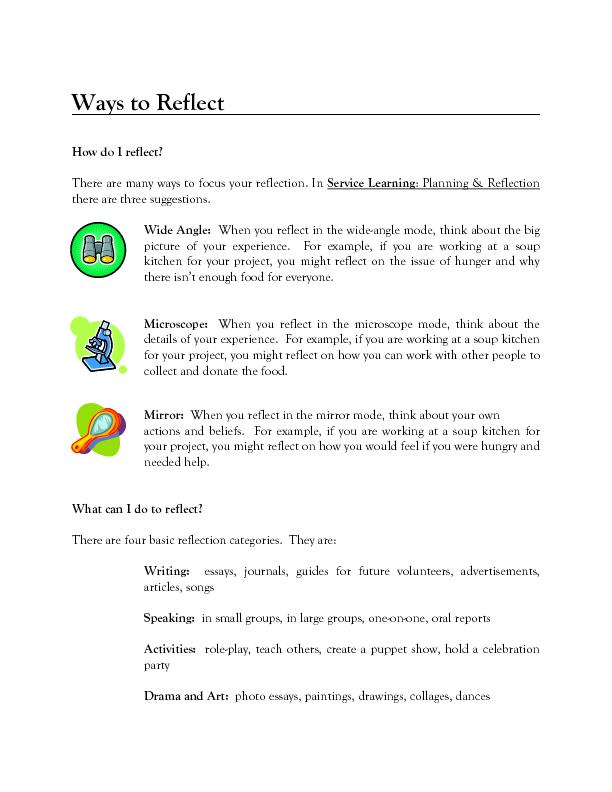 How do I reflect? There are many ways to focus your reflection. In Ser