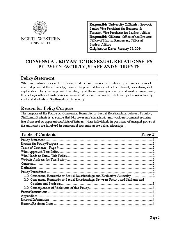 CONSENSUAL ROMANTIC OR SEXUAL RELATIONSHIPS