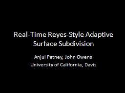 Real-Time Reyes-Style Adaptive Surface Subdivision