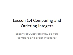 Lesson 1.4 Comparing and Ordering Integers