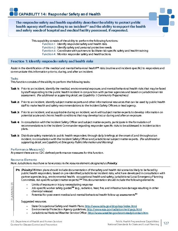 CAPABILITY 14:  Responder Safety and Health