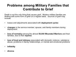 Problems among Military Families that Contribute to Grief