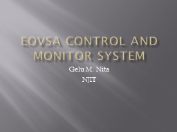 EOVSA Control and monitor System