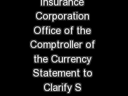 Board of Governors of the Federal Reserve System Federal Deposit Insurance Corporation Office of the Comptroller of the Currency Statement to Clarify S upervisory Expectatio ns for Stress Testing by PowerPoint PPT Presentation